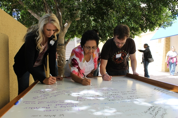 World Wide Views Climate and Energy Participants writing message to US  COP 21 Delegates